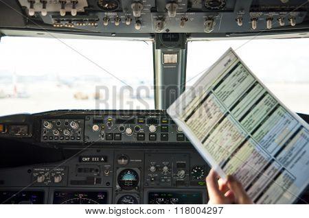 Pre-flight Checklist At Flight Deck