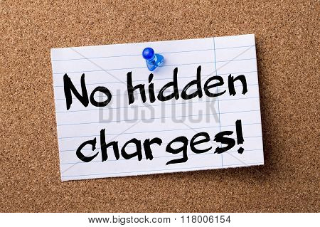 No Hidden Charges! - Teared Note Paper  Pinned On Bulletin Board