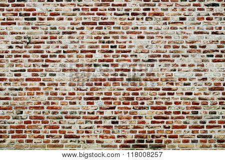 Brick Wall Horizontal Background With Red, Orange And Brown Bricks - Contrast Version