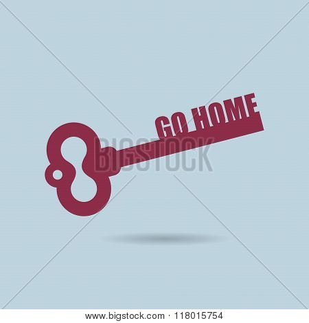 Go Home. House Key. Home Key From Door Of Apartment. Key Logo For Construction Company.
