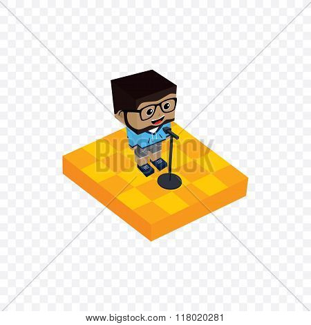 female stand up comedian isometric cartoon