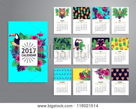 Tropical printable calendar 2017.