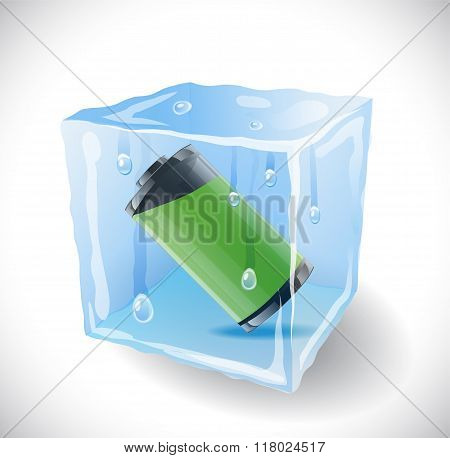 Ice Cube With Full Battery.