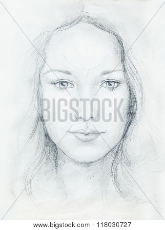 Drawing portrait Young woman with ornament on face, black and white. Eye contact.