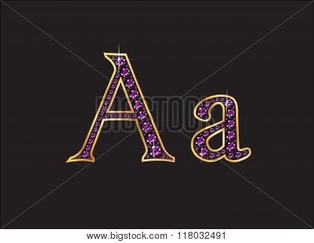 Aa Amethyst Jeweled Font With Gold Channels