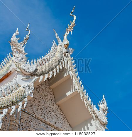Silver Sanctuary Gable apex in temple roof Chiangmai Province Thailand