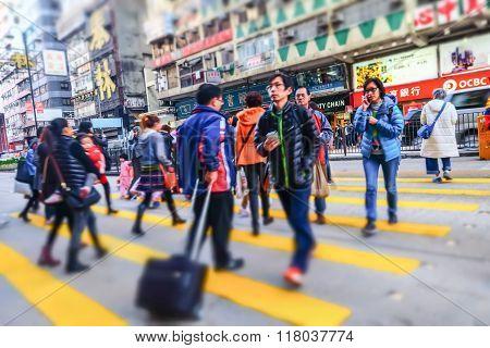 People Walking At Crowded Streets. Hong Kong