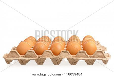 Cardboard egg box with brown eggs, isolated on white background