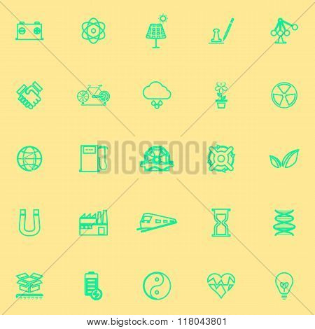 Renewable Energy Line Green Color Icons