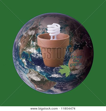 Ecofriendly Compact Fluorescent Bulb In Clay Pot On Earth Globe As Environmental Concept