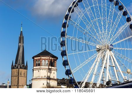 St Lambertus Church Is Roman Catholic Church In Dusseldorf Historic Center With Luna Park Attraction