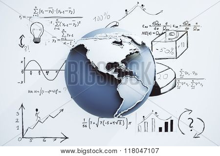 Global Business Concept With Globe And Business Scheme