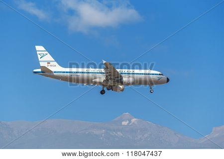 Condor Airbus A320 is prepared to land in Tenerife South airport