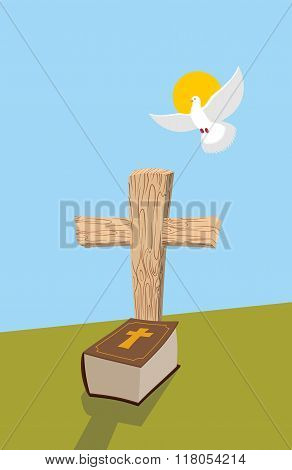 Cross And Bible. Christian Grave. Soul Of Man In Form Of White Dove Flies In  Heavens. Allegorical F