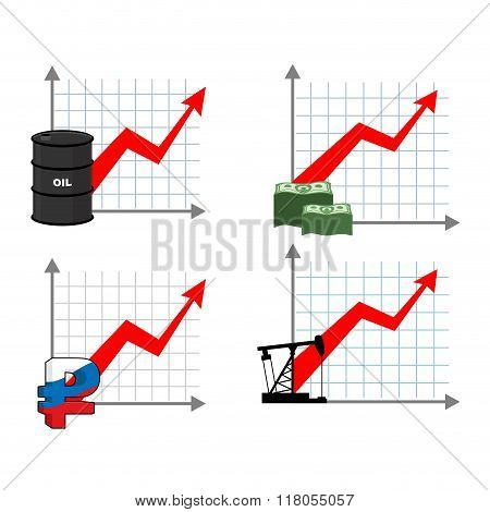 Graph Growth Of Wealth Set. Red Up Arrow. Increased Profits Of Oil Sales. Barrel Of Oil. Growth Rate