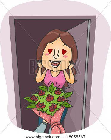 Illustration of a Girl Lovestruck Over the Flowers She Received