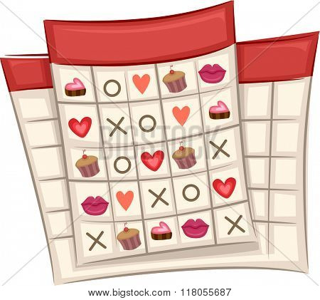 Illustration of Ready to Print Bingo Cards with a Valentine Theme