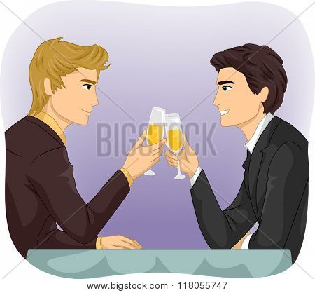 Illustration of an Same Sex Gay Couple having a Dinner Toast