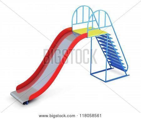 Metal Children's Slide Isolated On White Background. 3D Renderin