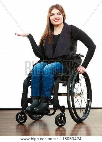 Woman Invalid Girl On Wheelchair