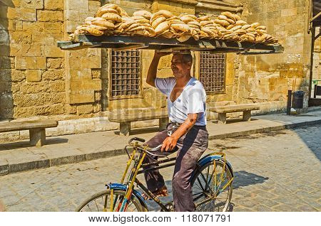 Delivering Of Bread In Cairo