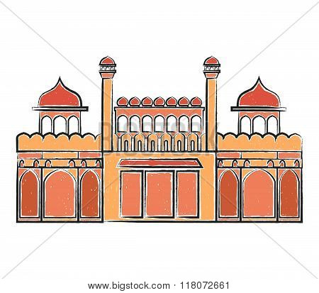 Red Fort Lal Quila vector illustration