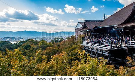 Kyoto, Japan - October 14, 2015: View Of Kiyomizudera Temple With Kyoto In The Background, Japan