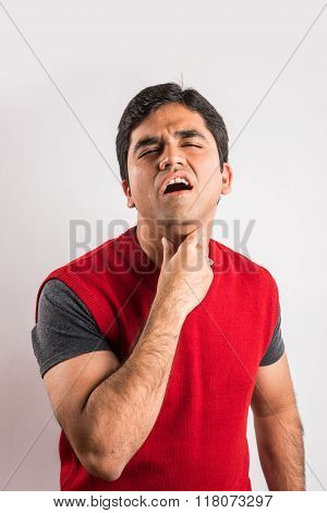 indian man with sore throat, indian man and throat pain, asian man and throat pain, isolated on whit