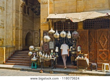 The market stall with numerous arabian lights on Al-Muizz street in Cairo Egypt. poster