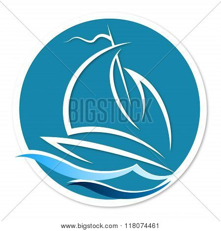 Sailing vessel on the waves