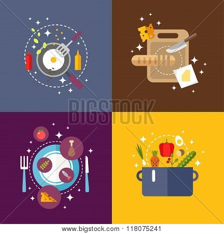 Set Of Flat Design Vector Illustrations With Kitchen Appliances And Food. Bread On A Cutting Board.