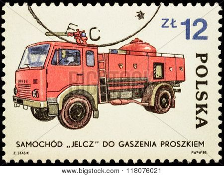 Fire Engine Jelcz On Postage Stamp