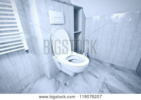 White Toilet Bowl In The Restroom.