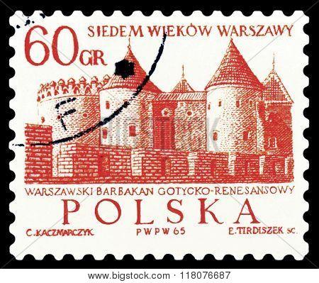 Postage Stamp.  Barbican, Warsaw.