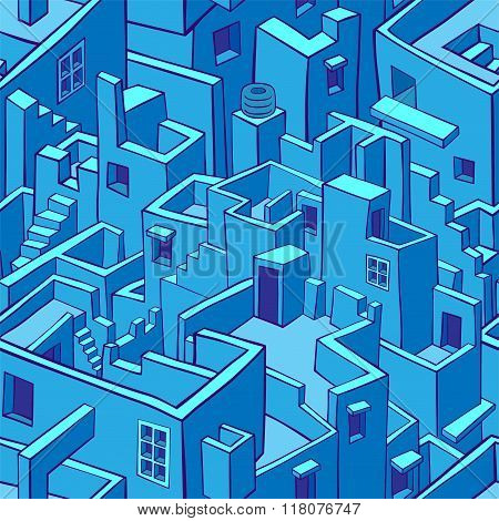 Blue city seamless pattern