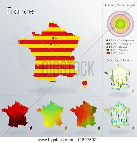 Modern Geometric And Political Map Of France. Catalans People Immigration To France. Catalans People