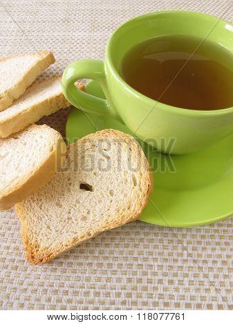 Tea and twice baked crisp bread