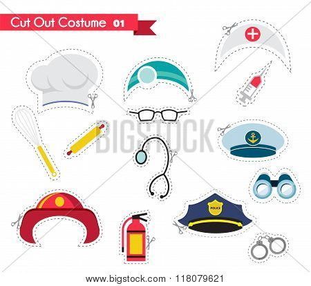 accessories for different proffestions. costumes for parties and photobooth