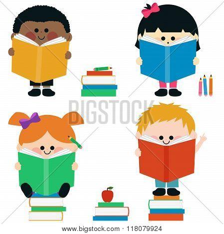 Multi ethnic group of kids reading books