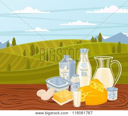 Dairy products on wooden table, dairy food. Different vector dairy products. Milk products, cheese, eggs, cream and other dairy food. Farmer food on background fields. Jug of milk and butter, yogurt. Organic farmers food. Organic food and dairy product co