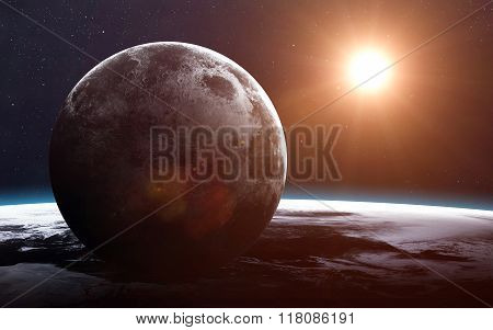 Earth and moon from space. Elements of this image furnished by NASA