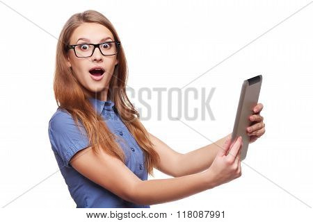 Business woman using digital tablet computer PC