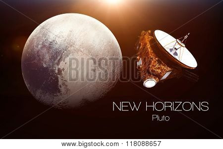 Pluto - New horizons spacecraft. This image elements furnished by NASA. poster