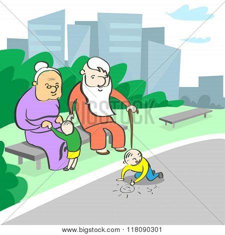 Grandparents Grandmother Grandfather Sitting Grandchild Playing