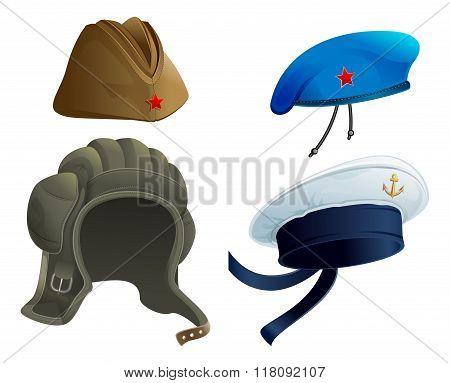 Set Military Army headdress. Russian military garrison cap. Modern Military hat