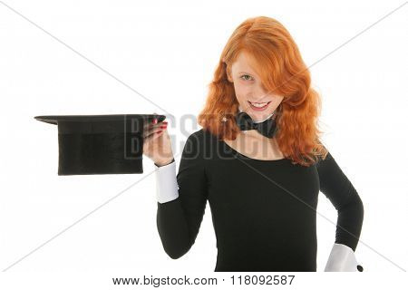 Woman as dandy with silk black isolated over white background