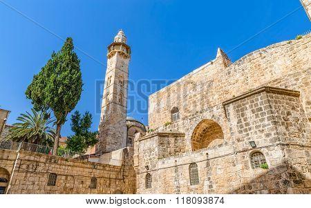 Omer mosque minaret in Jerusalem