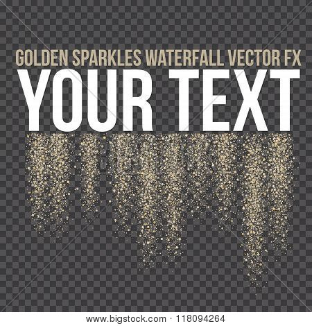 Vector Golden Sparkling Falling Tails. Stardust Trail. Firework Glittering Wave.