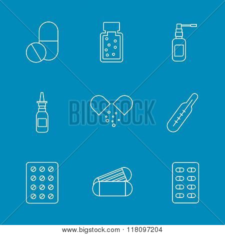 Set flat medical pills