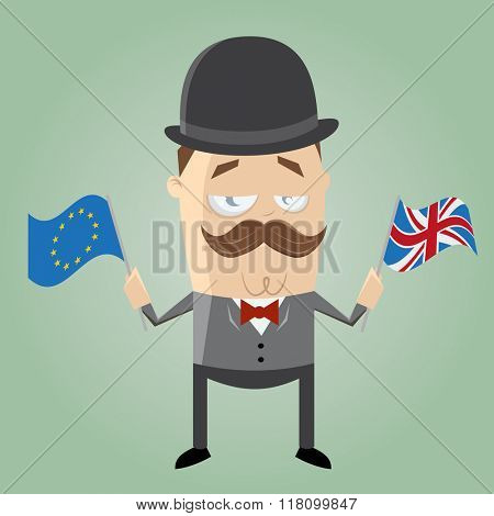 british man with european flag and union jack